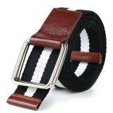 ซื้อ 【Fashion New Style】Double Ring Canvas Belt Buckle Unisex Casual Designed For Youthful(Black White Black) Intl ใหม่ล่าสุด
