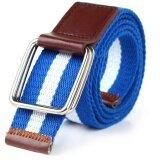 ขาย 【Fashion New Style】Double Ring Canvas Belt Buckle Unisex Casual Designed For Youthful(Deep Blue White Deep Blue) Intl จีน ถูก
