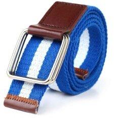ขาย 【Fashion New Style】Double Ring Canvas Belt Buckle Unisex Casual Designed For Youthful(Deep Blue White Deep Blue) Intl ถูก จีน