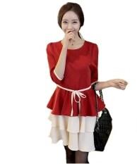 ขาย Fashion On Art เดรสแขนสามส่วน กระโปรงระบายเป็นชั้นๆ สีแดง Fashion On Art ถูก