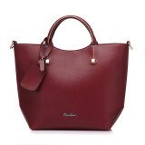 ขาย ซื้อ ออนไลน์ Fashion Pu Leather Tote Bag Vintage Women Shoulder Bag Red
