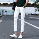 ขาย แฟชั่น Ripped กางเกงยีนส์ผู้ชาย Skinny Distressed กางเกงยีนส์กับหลุมฉีกขาดทำลายกางเกงยีนกางเกง นานาชาติ ราคาถูกที่สุด