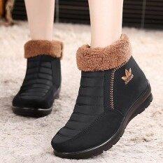 ขาย ซื้อ Fashion Stitching Soft Sole Fur Lining Casual Ankle Women Winter Warm Boots Intl Thailand
