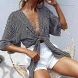 แฟชั่นสไตล์สตรีทผู้หญิงครอบคลุมอัพกลางแขนเสื้อ Cardigans ตัดห่อหน้าอก Beachwear Fz326 นานาชาติ จีน