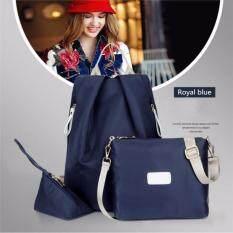 ราคา Fashion Style กระเป๋าเป้ กระเป๋าสะพายข้าง กระเป๋าเซต 3 ใบ(Royal Blue) ใหม่ล่าสุด