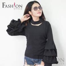 ส่วนลด สินค้า Fashion Style เสื้อคอกลม แต่งโชคเกอร์ตรงคอ แขนพองจับจีบชั้นๆ สีดำ รุ่น Fs A03