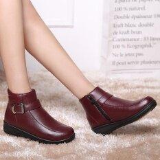ขาย Fashion Us Size 5 10 Snow Ankle Boots Women Winter Fur Lining Cotton Leather Flats Intl ใหม่