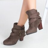 ขาย Fashion Vintage Pointed Thick Kitten Heel Ankle Boots For Women Intl ออนไลน์ ใน Thailand