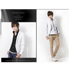 โปรโมชั่น แฟชั่นผู้ชายสีขาวเสื้อใหม่มาถึงเดียวซึ่งเป็นที่นิยมผู้ชาย Blazers บางพอดีผ้าลินินสูทแจ็คเก็ตแฟชั่นเกาหลี Blazer ราคาถูก นานาชาติ Unbranded Generic ใหม่ล่าสุด