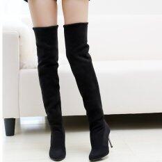 ขาย ซื้อ แฟชั่นหน้าหนาวสาวขายาวเหนือเข่ารองเท้าส้นสูงรองเท้าแพลตฟอร์มยืด
