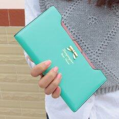 ขาย ซื้อ Fashion Woman Long Wallet Cute Bow Plug Ladies Purse Green Intl จีน