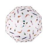 ราคา Fashion Women Anti Uv Sunscreen Rain Sun Dual Purpose Folding Umbrella Feather White Intl ถูก