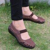 ขาย ซื้อ Fashion Women Big Size Mesh Breathable Flower Printing Wedge Heel Loafers Boat Shoes Intl จีน