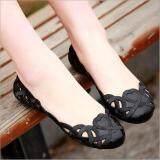 โปรโมชั่น Fashion Women Casual Flats Shoes Crystal Jelly Hollow Slip On Sandals Flip Flops Black Intl Unbranded Generic