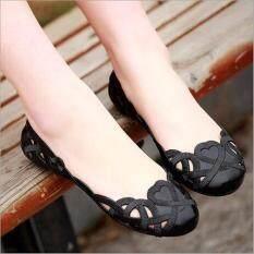 ราคา Fashion Women Casual Flats Shoes Crystal Jelly Hollow Slip On Sandals Flip Flops Black Intl ออนไลน์