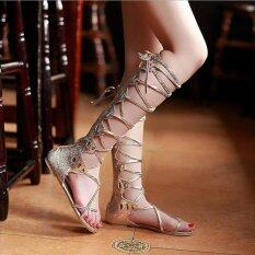 ขาย Fashion Women Flat Cut Out Lace Up Knee High Gladiator Sandals Boots Shoes Size Low Barrel Gold Intl แองโกลา ถูก