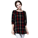 ราคา Fashion Women Ladies Blouse Plaid Print O Neck 3 4 Sleeve Plus Size Casual Loose Vintage Shirt Tops Red ใน ฮ่องกง