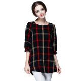 ราคา Fashion Women Ladies Blouse Plaid Print O Neck 3 4 Sleeve Plus Size Casual Loose Vintage Shirt Tops Red Intl เป็นต้นฉบับ