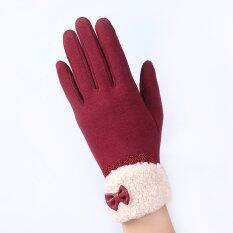 ขาย ซื้อ Fashion Women Outdoor Winter Warm Click Touch Screen Gloves Red Intl จีน