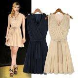 ซื้อ Fashion Women Pleated Chiffon Dress V Neck Sleeveless Elegant Mini Dress Beige Dark Blue ออนไลน์ ฮ่องกง