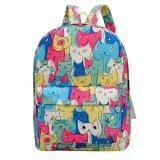 ขาย Fashion Women Sch**l Bag Canvas Student Backpack Nautical Print Large Capacity Backbag Pink Blue ราคาถูกที่สุด