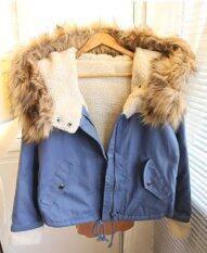 ซื้อ Fashion Women Thick Fleece Parka Faux Fur Hooded Outwear Winter Coat Blue ใน ฮ่องกง