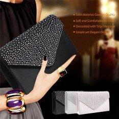ขาย ซื้อ ออนไลน์ Fashionable Diamante Satin Handbag Bridalbag Evening Party Lady Clutch Black Intl