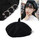 โปรโมชั่น Fashionable Female Beret Wool Beanie Women Hat Painter Cap With Ring Ornaments Black Intl สมุทรปราการ