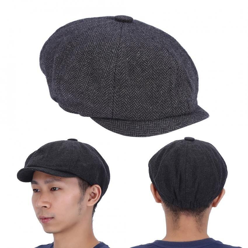 Fashionable Herringbone Men Warm Cotton Duckbill หมวก Newsboy Cabbie Ivy Cap (Black) - intl