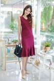 ซื้อ Fashionstory เดรสยาวชายระบายคอวีทรงสวย สีแดง Fashionstory ถูก