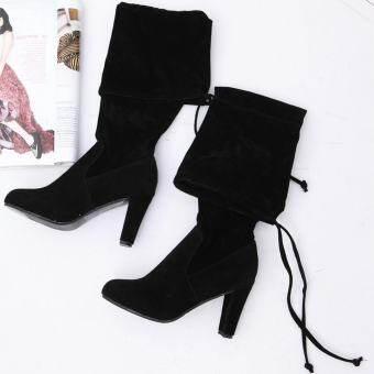 แฟชั่น Favolook ผู้หญิงสุภาพสตรีลูกไม้ขึ้นเข่ารอบนิ้วเท้าส้นสูงส้นสูงรองเท้าหนังนิ่มยาว (สีดำ) - นานาชาติ❤