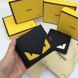 ราคา กระเป๋าสตางค์แฟชั่น Fendi Roma สีดำเหลือง Fendi เป็นต้นฉบับ