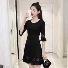 ราคา เวอร์ชั่นเกาหลีสีดำเพศหญิงอารมณ์กระโปรง Fishtail เย็บชุด สีดำ สีดำ ออนไลน์ ฮ่องกง