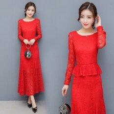 ขาย ประตูสีแดงแต่งกายเทศกาลชุดเดรสสีแดงฤดูใบไม้ผลิและฤดูใบไม้ร่วงวรรคแขนยาว สีแดง ผู้ค้าส่ง