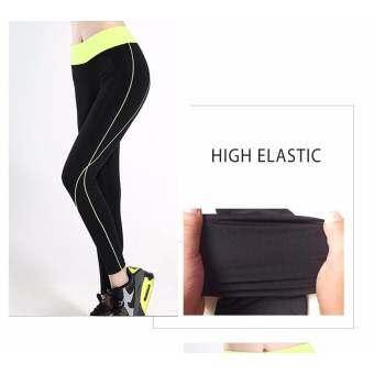 ออกกำลังวิ่งสตรี Leggings กางเกงกีฬายืดหยุ่นสำหรับออกกำลังกายโยคะผู้หญิงกีฬากางเกงวิ่ง (สีเขียว) - I-