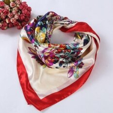 ซื้อ Floral Printed Women Lady Square Scarf Head Wrap Kerchief Neck Satin Shawl Red Intl ใหม่