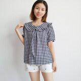 ซื้อ เสื้อญี่ปุ่นเสื้อ Flounced เสื้อสวมหัวลายสก๊อต สีดำและสีขาวตาราง วรรค 2 ออนไลน์ ฮ่องกง