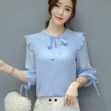 ขาย ซื้อ Man Na Er เสื้อเชิ้ตผู้หญิงผ้าชีฟองคอเสื้อและแขนเสื้อผูกโบว์ สีฟ้า สีฟ้า ฮ่องกง