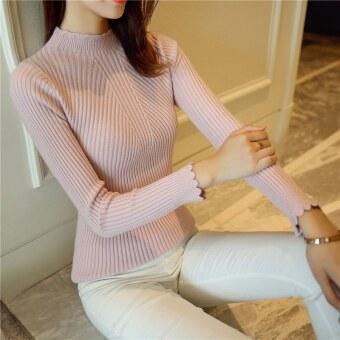 ฤดูใบไม้ร่วงและฤดูหนาวหญิงครึ่งปกสูง flounced สลิมเสื้อกันหนาวเสื้อสวมหัวเสื้อกันหนาว (สีชมพู)