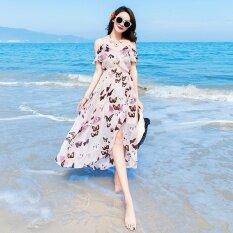 ราคา เทพธิดาชีฟอง Flounced ริมทะเลกระโปรงชายหาดที่ไม่มีสายหนัง สีรูปภาพ ที่สุด