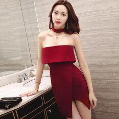 ซื้อ กระโปรงเซ็กซี่ชุดเดรสผู้หญิงใหม่อารมณ์ ไวน์แดง Other ออนไลน์