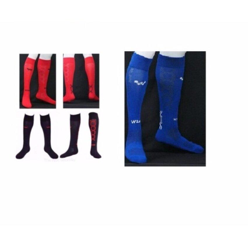ถุงเท้าฟุตบอลเด็ก รุ่น FOCUS KIDS 3 คู่  (สีดำ1คู่ สีแดง 1คู่  สีน้ำเงิน 1คู่)