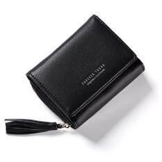 ราคา Forever Young กระเป๋าสตางค์แฟชั่นสไตล์เกาหลีใบสั้นแบบพับ 3 ตอนพร้อมช่องซิปใส่เหรียญประดับพู่ สีดำ ใหม่
