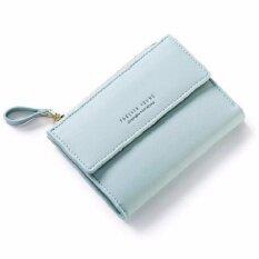 ส่วนลด Forever Young กระเป๋าสตางค์แฟชั่นสไตล์เกาหลีใบสั้นพร้อมช่องซิปบนสำหรับใส่เหรียญ สีเขียวมิ้นท์