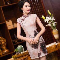ซื้อ ผู้หญิงแฟชั่นมินิเดรสต่ำ Slits Cheongsam สไตล์จีน Chestnut 75 นานาชาติ ใน จีน