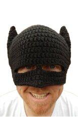 ขาย Funky Handmade Crochet Knit Hat Batman Snow Warm Winter Hat Cap Half Mask Hat ราคาถูกที่สุด