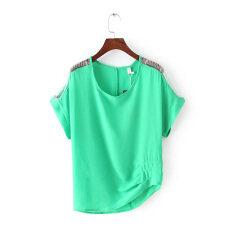 ขาย G88 ค้างคาวเสื้อหลวมวรรคเสื้อชีฟอง สีเขียว ฮ่องกง