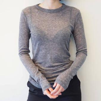 มีสินค้า GA สาธารณรัฐเกาหลีเสื้อผ้าหญิง 2018 เสื้อผ้าแฟชั่น สำหรับฤดูร้อนใหม่สไตล์เกาหลีเซ็กซี่ซีทรูคอกลมเข้าได้หลายชุดสลิมเสื้อยืดแขนยาว-