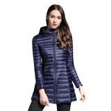 ซื้อ Gamiss Trendy Hooded Long Sleeve Zipper Pocket Lightweight Women Down Coat Cadetblue Intl ถูก สมุทรปราการ