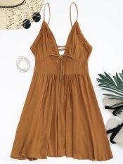ราคา Gamiss Women Fashion Low Back Plunge Lace Up Sundress Brown Intl ที่สุด